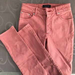"Velour ""effortless style"" salmon pink jeans"